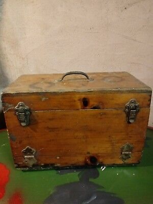 Antique Wooden Tool Chest Box With Tray Machinist Carpenter Primitive Chest