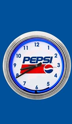 "New Pepsi Cola 15"" Diameter Neon Clock - Pepsi Stuff Promo 2018 - NIB"