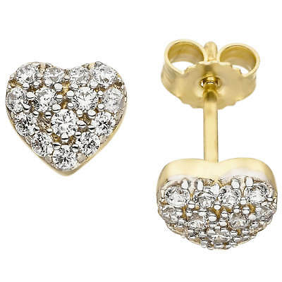 Ear Stud Earring Heart Heart with White Zirconia, 375 Gold Yellow Gold Bicolour