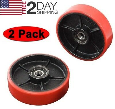 Brand New Pallet Jack/Truck Steering Wheels Set (2 pcs) with Bearings Poly Tread
