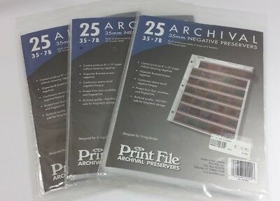 35 mm Archival Negative Preservers Print File Lot of 3 Unopened Packages of 25