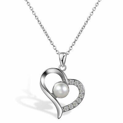 925 Sterling Silver 6mm Freshwater Pearl CZ Love Heart Pendant Necklace Chain