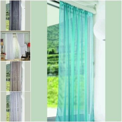 + Pair 2 Panels Lucy Voile Slot Top Panels Top Quality Net Voile Curtains 50:22