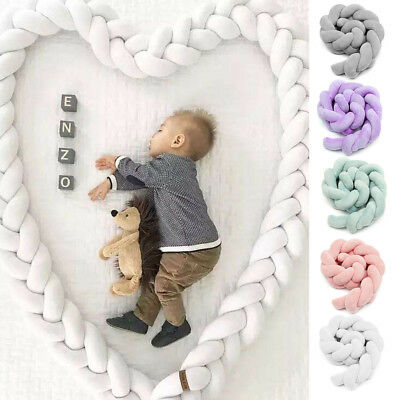 300cm Infant Baby Plush Bumper Home Bed Bedding Crib Cot Braid Cushion Protector