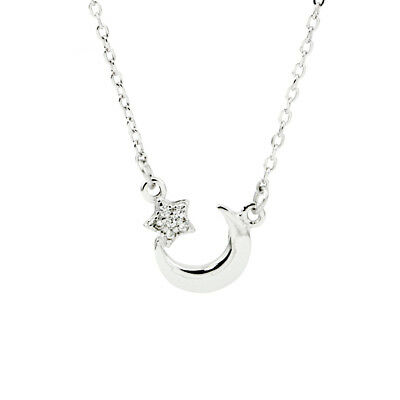 Genuine 925 Sterling Silver Cute Moon Crescent Star Pendant Charm Necklace Chain