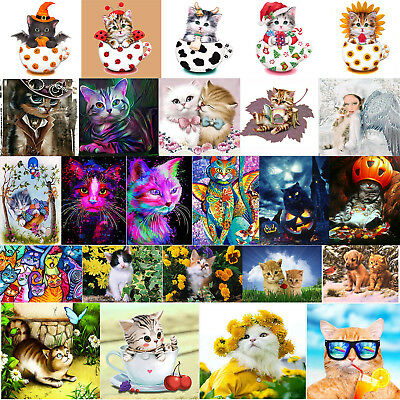 5D DIY Diamond Painting Embroidery Cross Stitch Xmas Halloween Cat Decor +Tool
