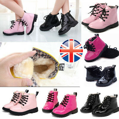 Kids Unisex Girls Winter Warm Lace Up Fur Lined Bovver Ankle Boots Martin Shoes