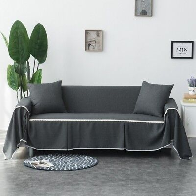 High Quality Linen Sofa Cover 1/2/3 Seater Easy Fit Lounge Couch Slipcovers AU
