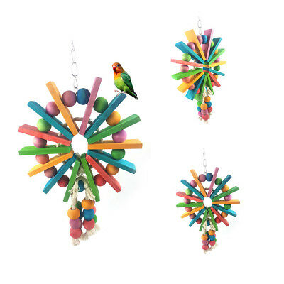 Eg_ Fm- Pet Bird Parrot Colorful Wood Ferris Wheel Bite Chewing Toy Cage Hanging