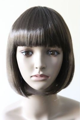 Christmas Party Brown Womens Bob Short Wig Adult Cosplay Fancy Dress Costume