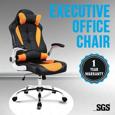 Executive Leather Racing Gaming Computer Office Chair Swivel Black&orange