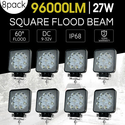 8X27W CREE LED WORK LIGHT BAR OFFROAD FLOOD REVERSE TRUCK Driving 12V 24V 4x4 AU