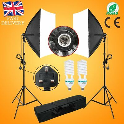2x135W Continuous Lighting Kit Softbox Soft Box Photo Studio Stand Set 5000K
