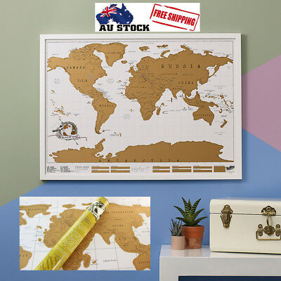 Scratch Off World Map Poster Travel Vacation Log Gift Large Size
