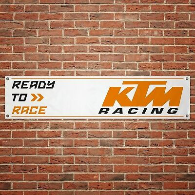 KTM Ready to Race Banner Garage Workshop Motorcycle PVC Sign Moto X Moto GP