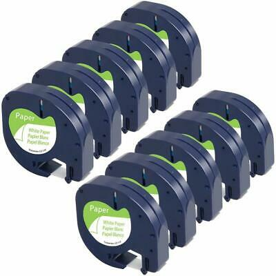 10PK LT 91330 Dymo Letratag Refill Compatible For Dymo Label Maker Tape 12mmX4m