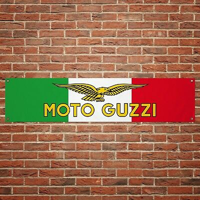 Moto Guzzi Italy Banner Garage Workshop PVC Sign Trackside Tricolore Display