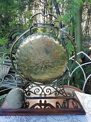Antique Victorian English Brass Gong Ornate Frame Wooden Base Clanger Circa 1870