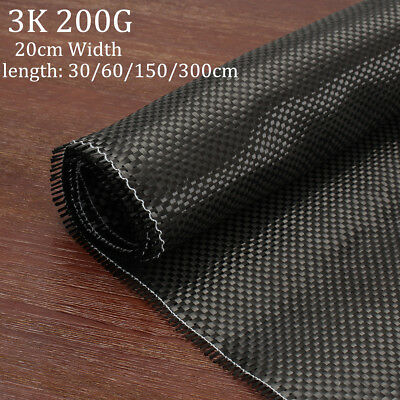 3K 200gsm Real Plain Weave Carbon Fiber Fibre Cloth Black Fabric Twill 20x 300cm
