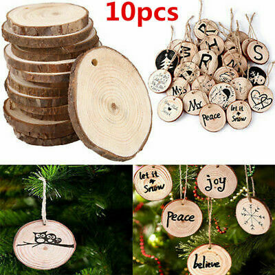 10pcs Unfinished Natural Round Wood Slices Circles Discs for DIY Crafts Dia3-4cm
