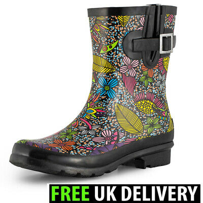 Womens Ladies Short Wellington Boots Festival Wellies Waterproof Rubber Floral