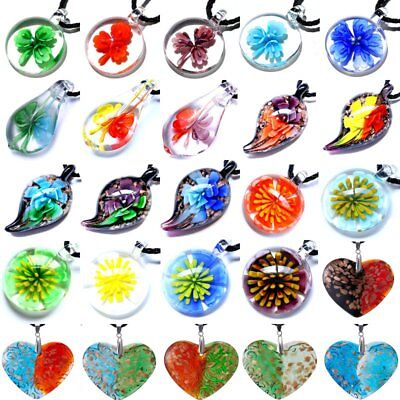 Fashion Glass Murano Lampwork Heart Pendant Necklace Womens Jewellery Gift Party