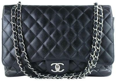 d344dbd69724 Chanel Classic Flap Quilted Caviar Maxi Black Leather Cross Body Bag 3ct1012