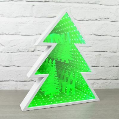 Xmas Tree Infinity Light With Reindeer Patter Decoration Home Lighting Green New