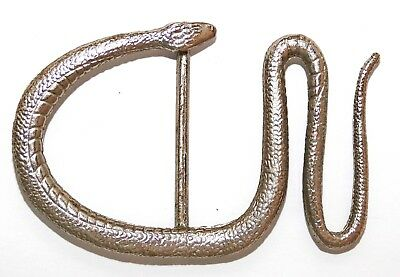 "Vintage Silver Tone Metal Large Abstract Snake Belt Buckle - Fits 2"" Belt Width"