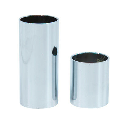 Pack of 2 Finger and Knuckle Metal Chrome Guitar Slides S Small 18 mm Diameter
