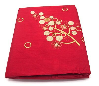 "Large Rectangular Red Festival Christmas Tree Tablecloth 70"" x 90 178cm x 230cm"