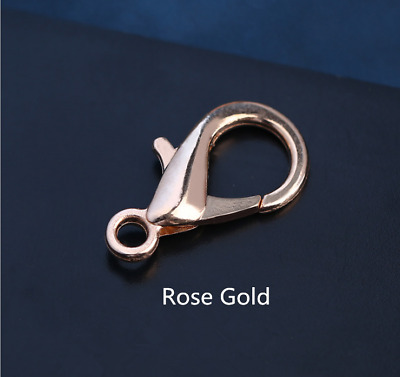 50Pcs Rose Gold Lobster Clasp Connector Ring End Hook Buckle Jewelry Findings