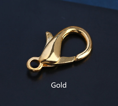 50Pcs Gold Lobster Clasp Connector Ring End Hook Buckle Jewelry Findings 12*8mm