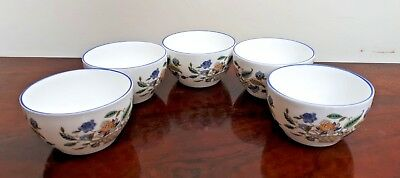 Set of 5 Minton Haddon Hall Trellis Blue Dipping Bowls VGC