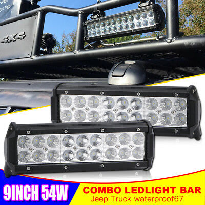 Pair led light bar offroad 9inch combo front near For Honda Tractor 4X4WD 10''