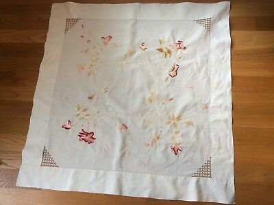 Antique Society Silk Hand Embroidery Linen Tablecloth 40 In. Roses Falling Petal