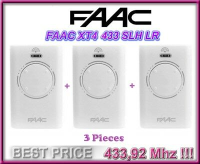 3 X FAAC XT4 433 SLH LR remote controls, white 433.92MHz Rolling code, 3 Pieces