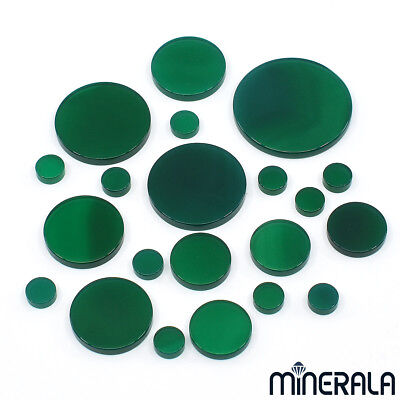 [Wholesale] Natural Green Onyx Agate Round Flat Top Loose Gemstone V.size