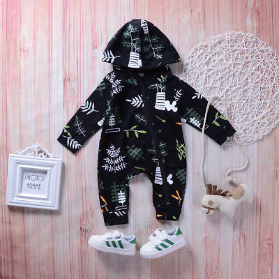 EG_ LC_ Fashion Autumn Baby Girls Boys Long Sleeve Hooded Leaves Romper Jumpsuit