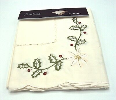 """Small Square Embroidered Holly & Berry Xmas  Tablecloth Topper 36"""""""
