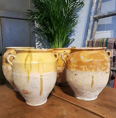Beautiful Antique French Confit Pots Earthenware Yellow Glazed - Great Condition