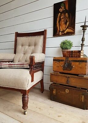 Late Victorian mahogany Library chair upholstered in Irish linen