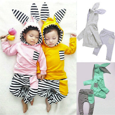 Toddler Baby Boy Girl 3D Bunny Ear Striped Hoodie T shirt Tops+Pants Clothes 9
