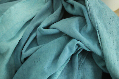 Linen Sheet Antique French dyed blue heavy throw blanket textile 101 X 77 inches