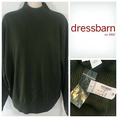 28f505e2518 Dressbarn Mock Turtleneck Sweater Puloever Top Shirt Army Green Long Sleeve  M