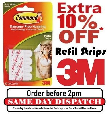 3M Command Hook Replacement Refil Adhesive Strips Damage Free For Wall Hanging