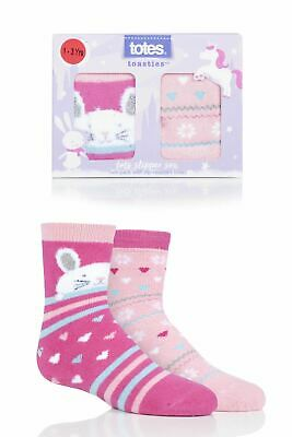 a70b937e5c9d GIRLS 2 PAIR Totes Tots Rabbits Slipper Socks with Grip - £10.99 ...
