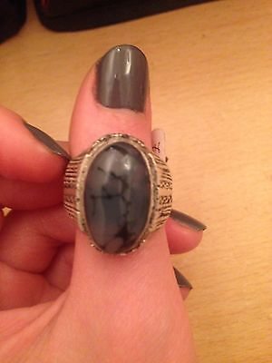 Yemeni Mens Grey Agate Aqeeq Stone Ring Unique Old Silver One Of A Kind