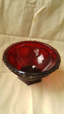 Estate Vintage Avon Cape Cod Ruby Red Glass Pedestal Candy Dish Nut Bowl in BOX