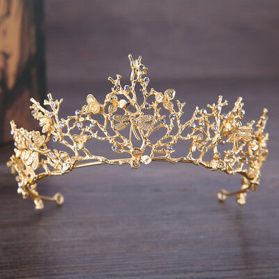EG_ Baroque Branch Bridal Crown Rhinestone Tiara Dragonfly Hair Accessory Witty